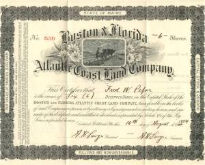 Boston & Florida Atlantic Coast Land Company stock certificate issued in 1924