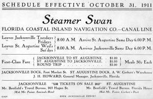 "Steamer ""Swan"" Schedule of Tolls, 1911"