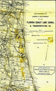 1892 color map of the lands of the Florida canal and Boston & Florida land companies