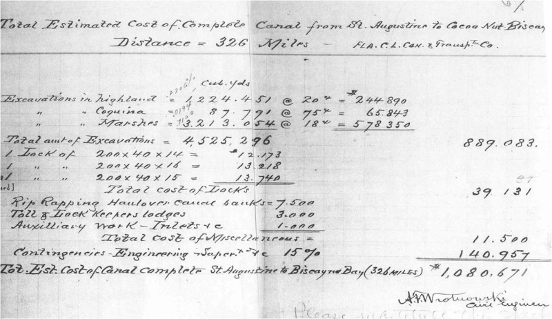 Estimated Cost of Completing the East Coast Canal from St. Augustine to Cocoa-Nut Grove, Fla. (1889)