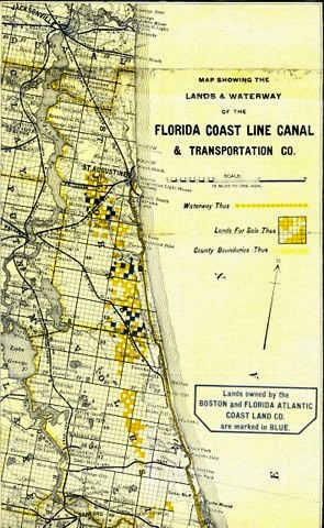 1892 northeast Florida map showing towns and cities as well as railway routes and private canal (inland waterway) routes along with promised land grants for opening up transportation in Florida.