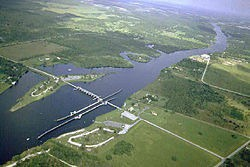 Franklin Lock and Dam on the Caloosahatchee River at Olga, Fla., opened in 1965, fourteen feet high, upstream of the Gulf Intracoastal Waterway, and built at a cost of $3.8 million.