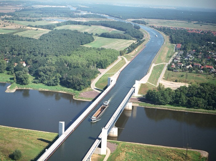 Magdeburg Water Bridge, in Germany, the longest such bridge in the world.