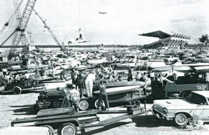 Contestants in the Gold Coast Marathon off-loading their hydroplanes and other power boats