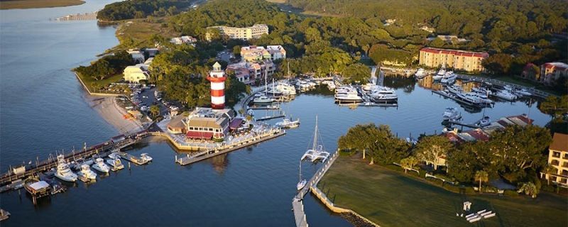 Aerial of Harbour Town Marina, Sea Pines Plantation , Hilton Head Island, South Carolina