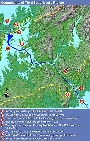 Map of the New Third Lane  of the Panama Canal and Post-Panamax Elements