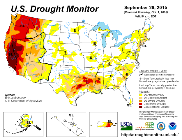Florida Drought Map Dated on September 30, 2015 and published on October 1, 2015