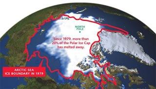 Shrinking northern polar ice cap