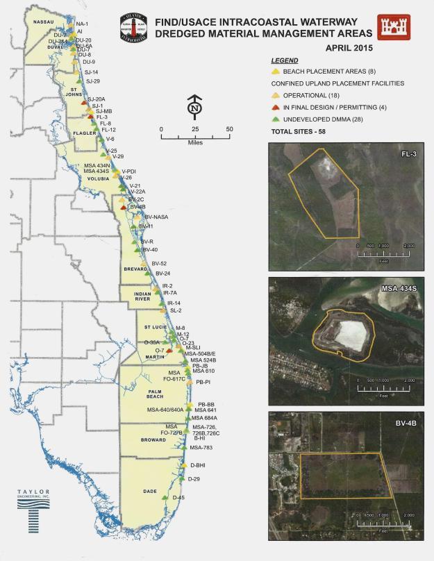 This map shows the various completion dates for the construction of dredged material management areas by the Florida Inland Navigation District (FIND).