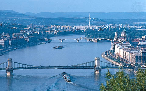 The Danube River coursing its way through Budapest, Hungary