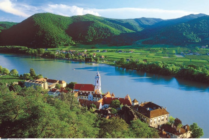 The Danube River runs through the German countryside