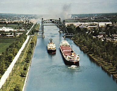 Welland Canal. a 27 mile inland waterway connecting Lake Supereior and Lake Erie and first built between 1824 and 1830.